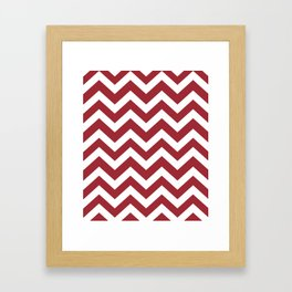 Japanese carmine - red color - Zigzag Chevron Pattern Framed Art Print