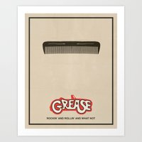 movie poster Art Prints featuring Grease - Minimalist Movie Poster by Finlay McNevin