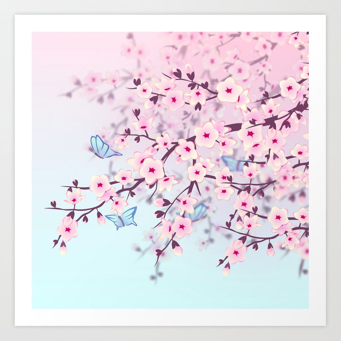 Cherry Blossom Landscape Kunstdrucke