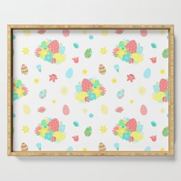 Colorful Easter Egg and Easter Flower Pattern Serving Tray
