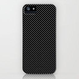Classic White Polka Dot Hearts on Black Background iPhone Case
