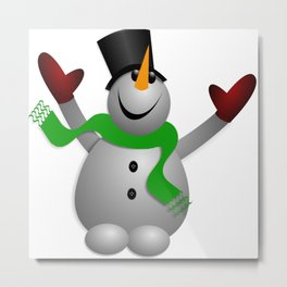 A Happy Snowman Metal Print