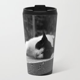 Cat in black & white Travel Mug