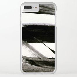 Brushstroke 9: a bold, minimal, black and white abstract piece Clear iPhone Case