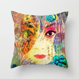 Beijing Opera Girl Throw Pillow