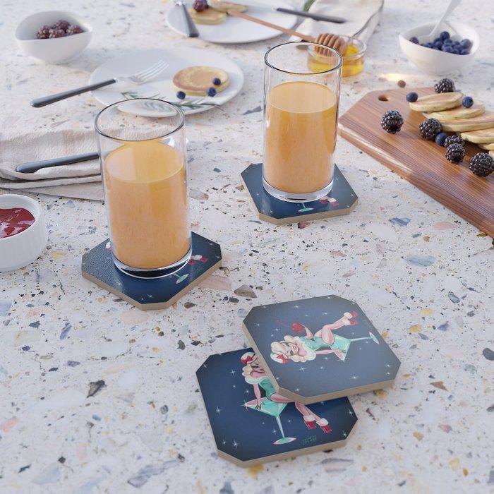 Cherry Holiday Martini Girl Coaster