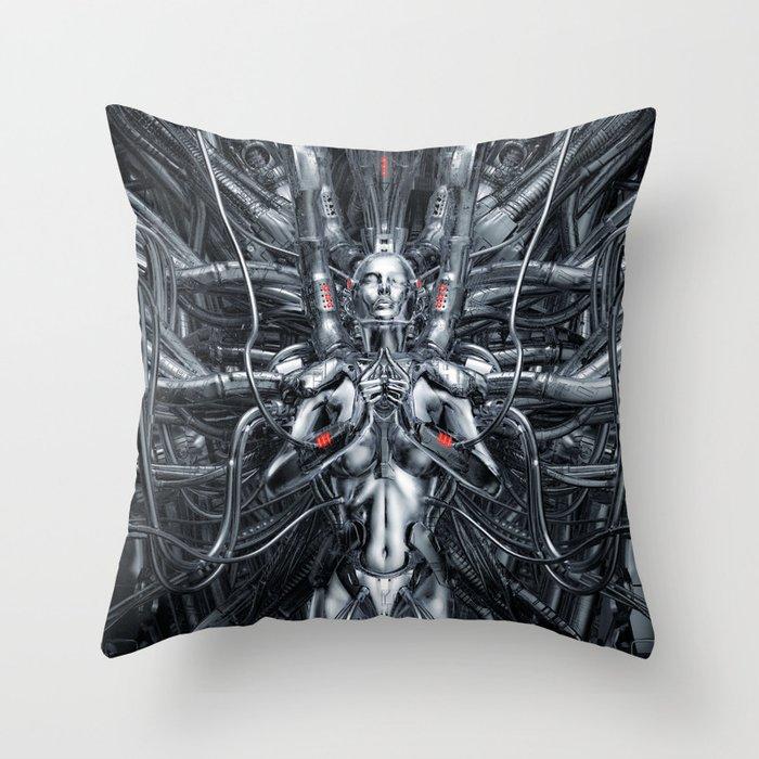 Maiden In The Machine Throw Pillow