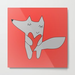 Fox in love red Metal Print