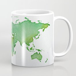 Green World Map 02 Coffee Mug