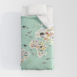 Cartoon animal world map for children, kids, Animals from all over the world, back to school, mint Duvet Cover