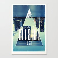 miami Canvas Prints featuring MIAMI by Kami