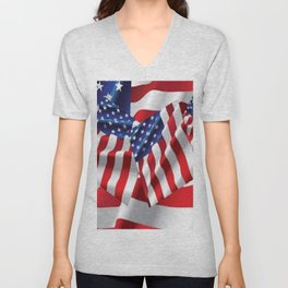 Patriotic American Flag Abstract Art Unisex V-Neck