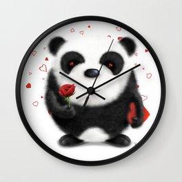 Valentine's Panda by dana alfonso Wall Clock