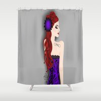 pinup Shower Curtains featuring Pinup by Crzy_Nevaeh_Art