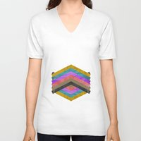 hexagon V-neck T-shirts featuring Hexagon by Kaamil Ajmeri