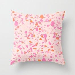 Terrazzo paper - pink Throw Pillow