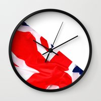 british flag Wall Clocks featuring Im British by Stitched up designs