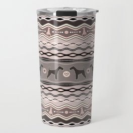 Airedale Terrier Decorative Pattern in pastels Travel Mug