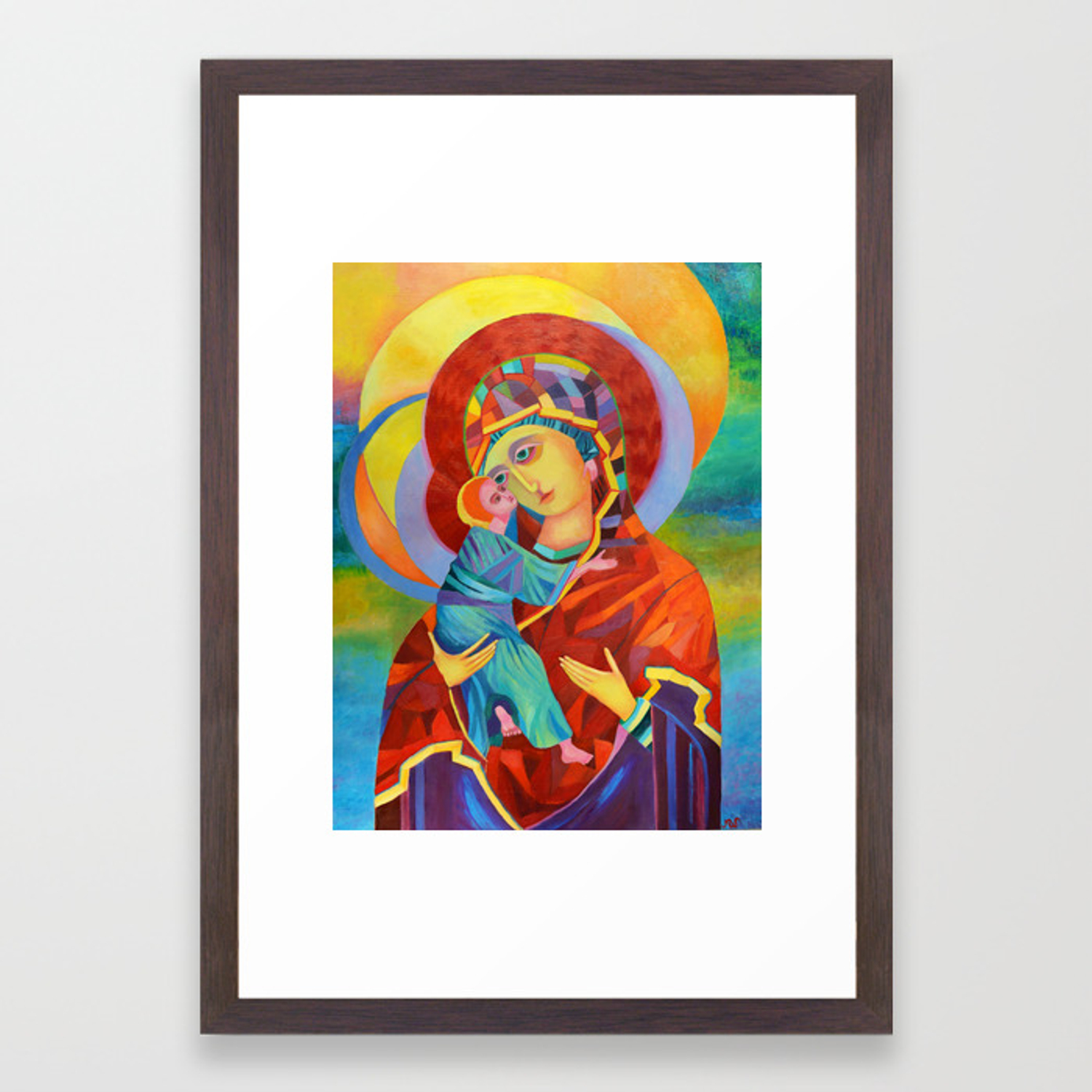 Virgin Mary Painting Madonna And Child Jesus Icon Modern Catholic Religious Framed Art Print