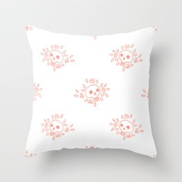 Floral Skull in Coral Throw Pillow