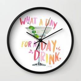 What a Day for a Day Drink – Melon Typography Wall Clock