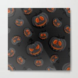 October Halloween halloween pumpkin face dark black Metal Print