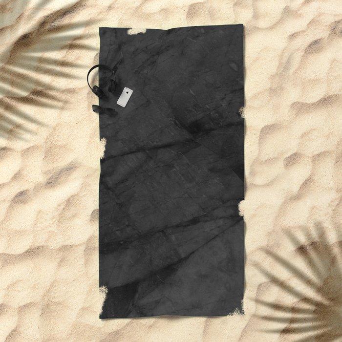 Dark Grey Matte Black Marble Beach Towel
