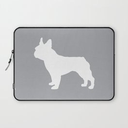 Boston Terrier pet silhouette grey and white minimal dog lover gifts Laptop Sleeve