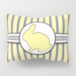 Rabbit on Yellow Stripes Pattern Design Pillow Sham