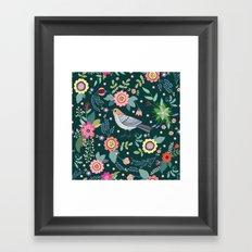 Pattern with beautiful bird in flowers Framed Art Print