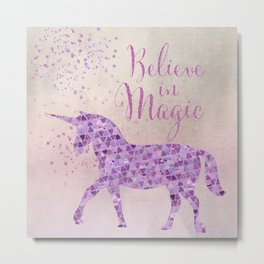 Pink and Purple Glamour Unicorn Believe in Magic Metal Print