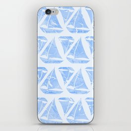 Blue Sailing Boats Water Pattern iPhone Skin
