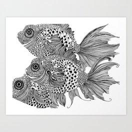 Three White Fish Art Print