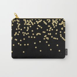 Sparkling gold glitter confetti on black - Luxury design Carry-All Pouch
