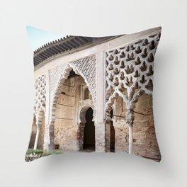 Patio Arches - Real Alcazar of Seville Throw Pillow