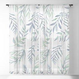 Floating Leaves Blue #society6 #buyart Sheer Curtain