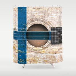 Old Vintage Acoustic Guitar with Finnish Flag Shower Curtain