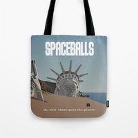 planet of the apes Tote Bags featuring Spaceballs: Planet of the Apes by Preston Porter