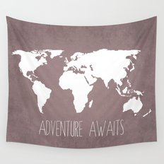 Adventure Awaits World Map Wall Tapestry