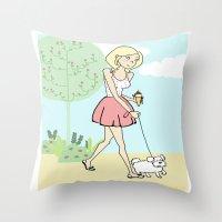 icecream Throw Pillows featuring Icecream by Marisa Marín