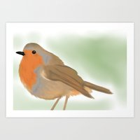 birdy Art Prints featuring Birdy by all or some