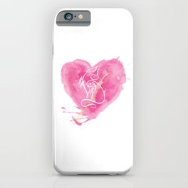 White cat's silhouette on pink watercolor background iPhone Case