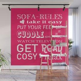 Sofa Rules Pink Wall Mural
