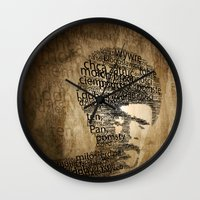 pulp fiction Wall Clocks featuring pulp fiction by de4macja
