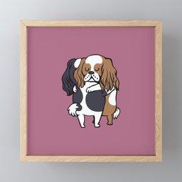 Cavalier King Charles Spaniel hugs Framed Mini Art Print