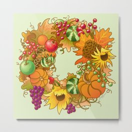 Fall Wreath Metal Print