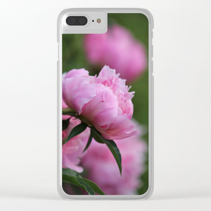 PINK PEONY PROFILE Clear iPhone Case