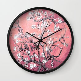 Van Gogh Almond Blossoms : Peachy Pink Wall Clock