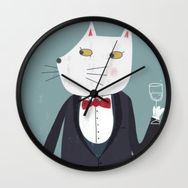Cheers! Gentleman Cat Wall Clock