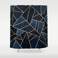 Navy Stone Shower Curtain